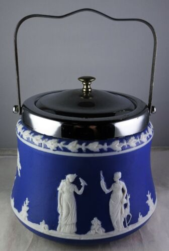 Jasperware Style Biscuit Cracker Jar Neoclassical Figures Metal Lid & Handle