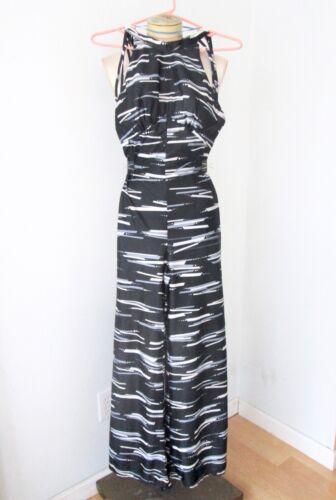 Vtg 70s Black Gray Geometric Backless Wide Leg Disco Jumpsuit Double Straps XS