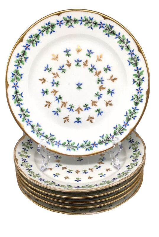 Antique Vintage French Paris Porcelain Sprig Cornflower Dinner Plates Lot Of 6
