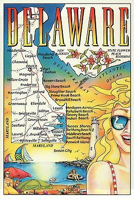 Delaware, First State, Diamond State, Dover, Ocean View, Lighthouse Map Postcard