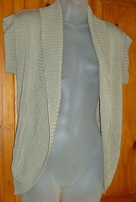HOOKED UP by I.O.T Taupe SHRUG Laconic Sleeve BOLERO Crochet Detail Size S