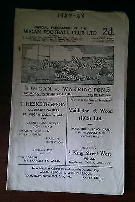 Wigan vs. Warrington - 22/11/1947