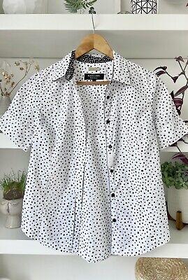 PAUL SMITH Black Label white/black polka dot cotton shirt/blou! Size 40, Uk10