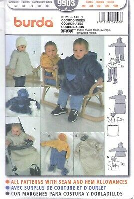 BURDA Infant Baby Winter Hooded Bunting Romper Coat Sewing Pattern UNCUT 3-18m