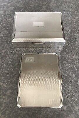 A Collection Of Two Vintage Silver Wood Lined Cigarette Box & Case