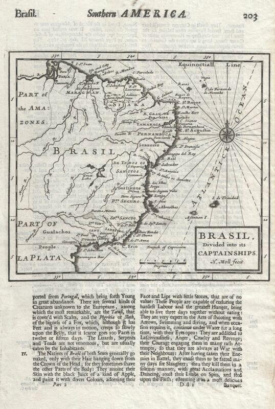 1701 Moll Map of Brazil