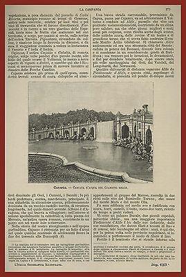 Caserta Cascata d'acqua nel Giardino Reale Italia Geografica Premoli 1891