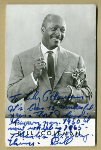Bill Coleman (1904-1981) - Jazz trumpeter - RARE photo signed to his wife Lily