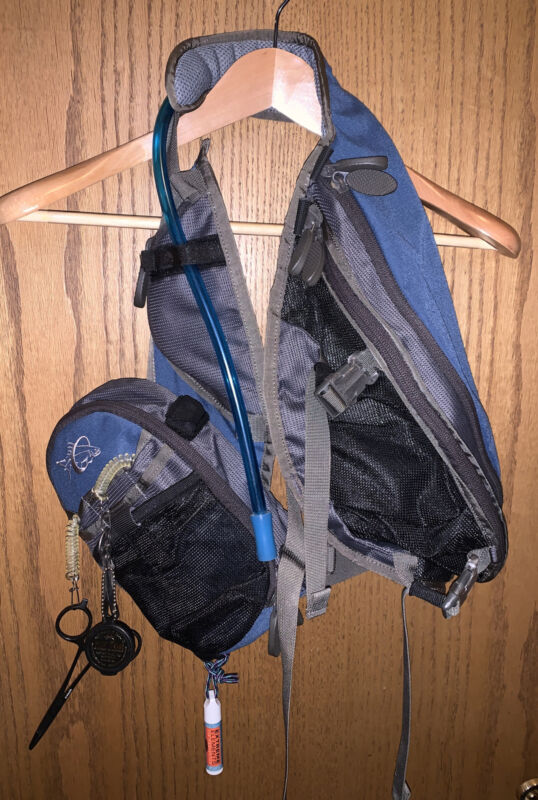 William Joseph fishing vest, blue, with fishing accessories attached, used, F/S