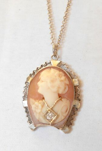 """Carved Cameo Wearing 3mm Diamond Necklace 14K White Gold Pendant Necklace 16"""""""