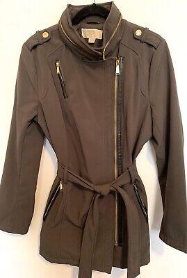 MK MICHAEL KORS Belted Asymmetrical Coat Gray Zippered Good Gold L Large $189