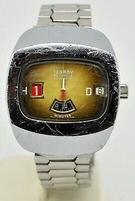 Vintage Tegrov Automatic Jump hour digital stainless steel gents watch