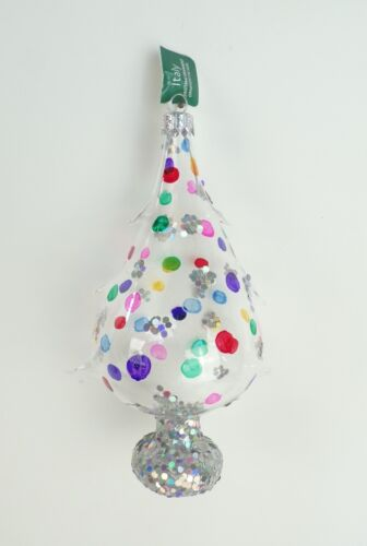 Christmas Ornament Tree Shape NIB Mouth Blown Polka Dot Glass Hand Paint Italy X