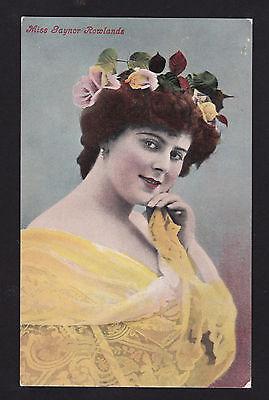c1910 actress Miss Gaynor Rowlands rose garland people UK postcard