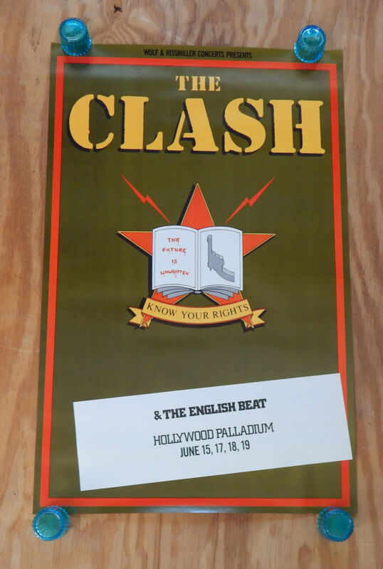 THE CLASH - KNOW YOUR RIGHTS  - ORIGINAL ROLLED ROCK CONCERT PROMO POSTER (1982)