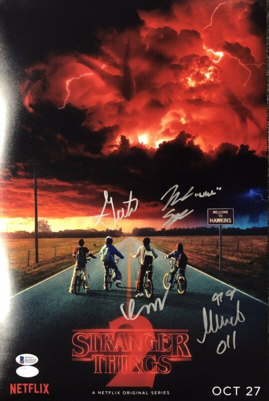 Stranger Things Cast Autograph 12x18 Photo Noah Millie Finn Gaten Signed COA 2