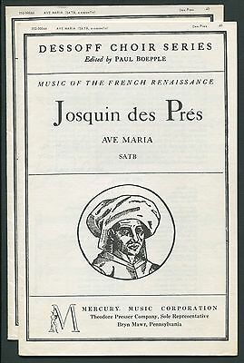 JOSQUIN des PRES Choral Sheet Music Lot of 2, Ave Maria, French Renaissance