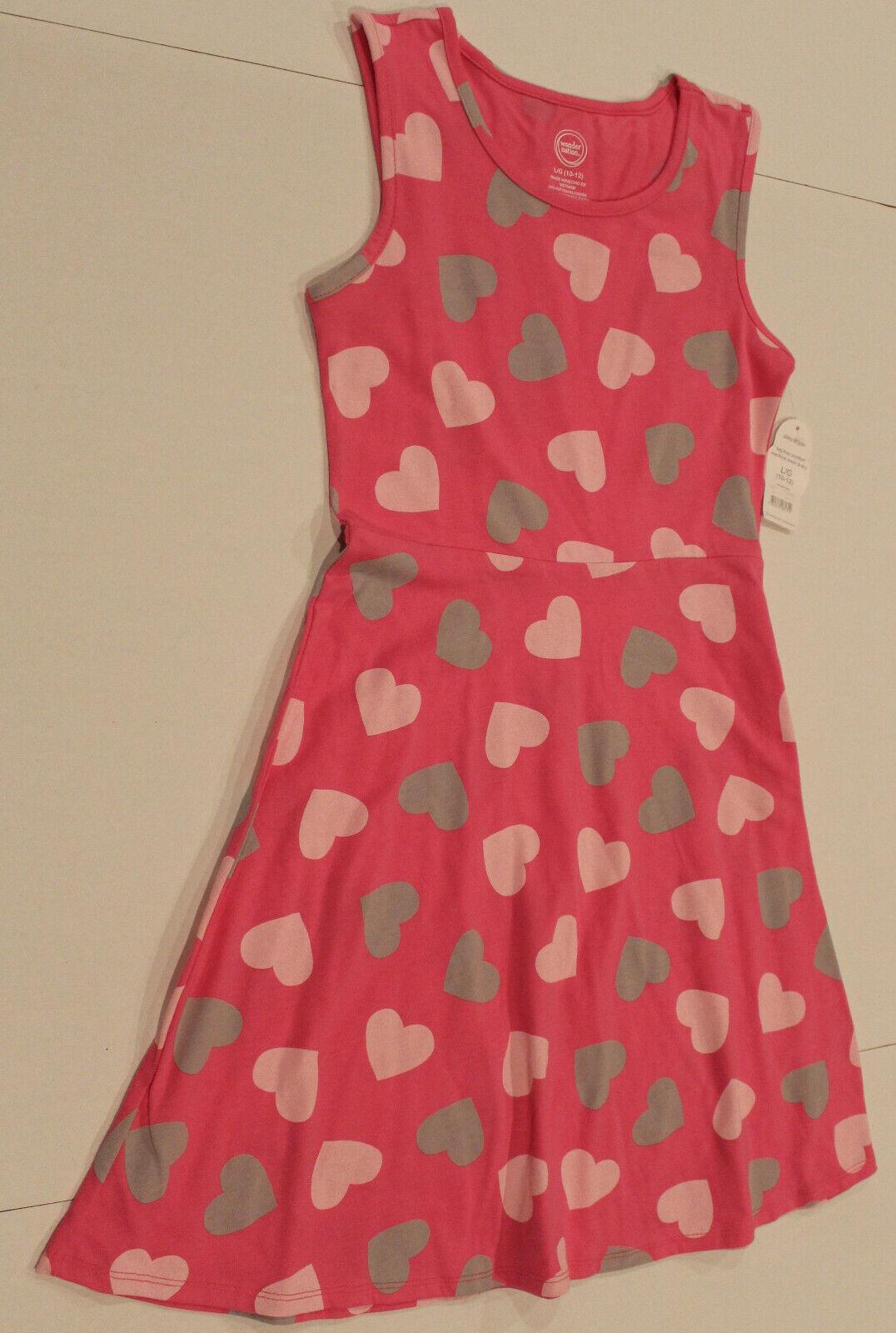 ❤Wonder Nation Girls Pink Sleeveless Summer Dress W/Hearts Size L (10-12) BNWT!