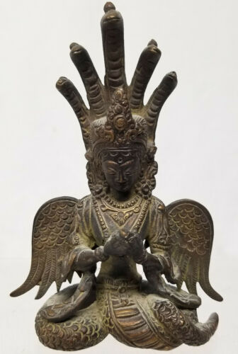 Antique South East Asian Indian Bronze Deity Figure Statue Naga Kanya Hindu