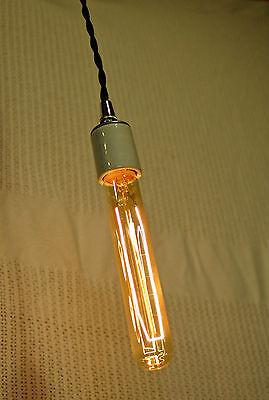 Tubular Light Bulb, Smoked Amber Glass, Vintage Edison Style Repro. 30 Watt