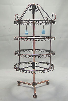 New 188 Holes Copper Color Rotating Earrings Display Stand Rack Holder