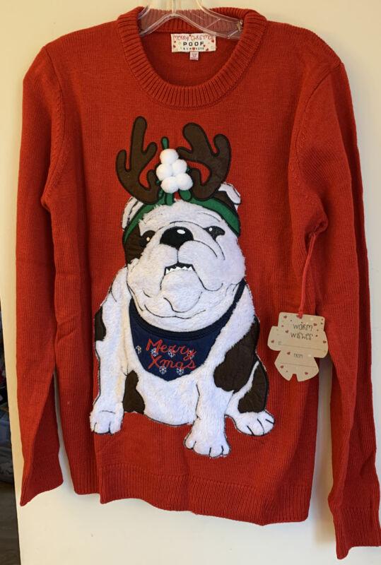 English Bulldog Holiday 3 D Sweater For Women