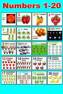LAMINATED NUMBERS (1-20) CHILDREN LEARNING EDUCATIONAL POSTER WALL ...