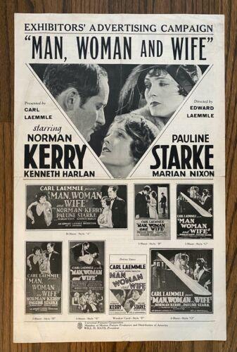 *MAN, WOMAN AND WIFE (1929) Norman Kerry & Pauline Starke Early Sound Drama PB