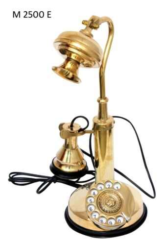 Retro Reproduction Brass Candlestick Telephone Rotary Dial Home Office Decor NEW