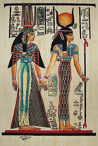 Egyptian-Hand-Painted-Papyrus-Artwork-Isis-Leading-Queen-Nefertari