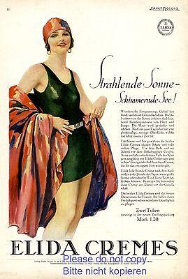 20er Jahre Badeanzug (Elida Creme Reklame 1928 Badeanzug Bademode 20er Jahre Badekappe Badenixe Erotik)