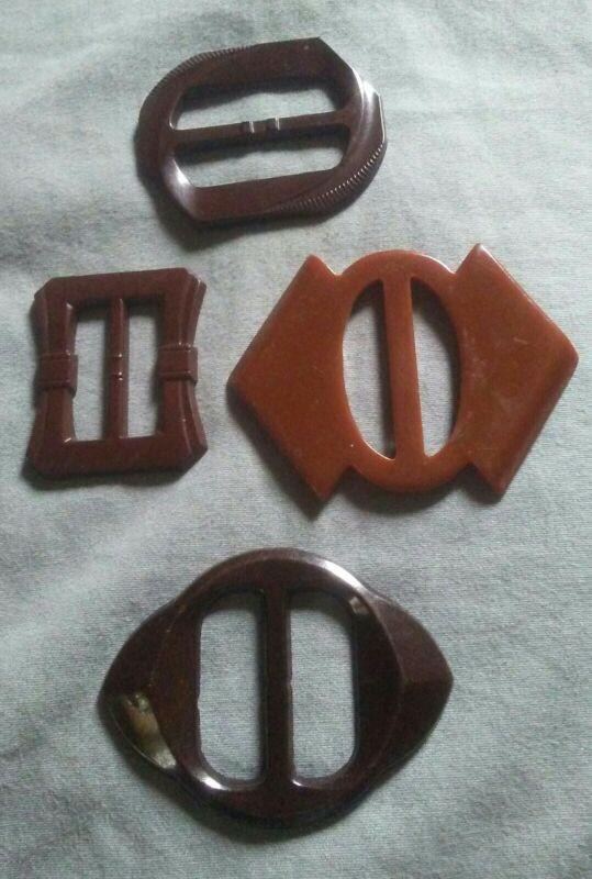 4 Vintage Bakelite Buckle Scarf Slides.