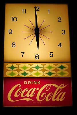 VINTAGE DRINK COCA COLA WALL CLOCK ELECTRIC LIGHTED ATOMIC USA Neon Prod Inc