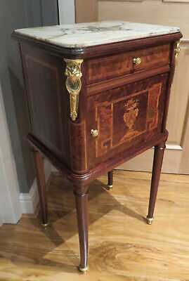 BURR WALNUT & MARQUETRY BEDSIDE CABINER INSET MARBLE TOP