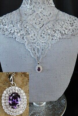 Halo Purple & White Ice Cubic Zirconia NECKLACE Platinum/Silver with 20
