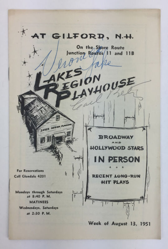 Veronica LAKE & Carl BETZ (Film/Stage): Signed Program from her First Stage Role