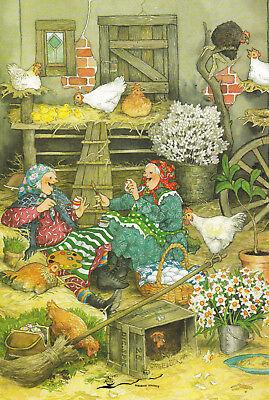 Postkarte: Inge Löök - Frauen bei den Hühnern / 41