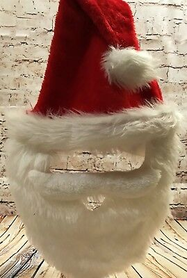 New SANTA HAT with BEARD - Unisex/Adult Funny 1-pc Headwear Holiday Novelty Play