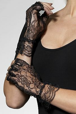 Short Black Ladies Womens Gothic Fancy Dress 1980's Lace Fingerless Gloves 98251
