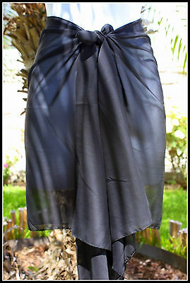 Sheer Sarong SOLID BLACK Beach Cover-up Hawaii Vacation Bikini Wrap Skirt Dress