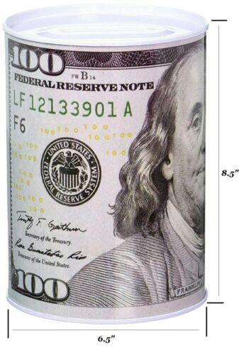 Ben Franklin $100 Bill Money Coin Saver Tin Money Savings Piggy Bank Free Ship