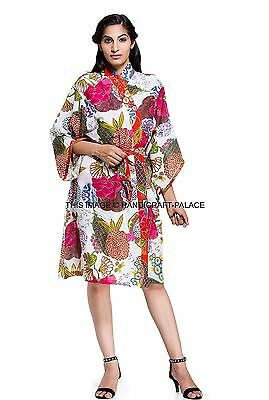 Hippie Print Robe (Indian Floral Print Gown Cotton Kimono Robe Hippie Bath Robe Intimate)