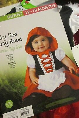 BABY RED RIDING HOOD Costume 12-18 months NEW Infant 1pc Suit Hooded Cape Skirt - Baby Girl Halloween Costumes Walmart