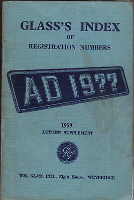 Glass's Index of Registration Numbers Supplement Autumn 1959