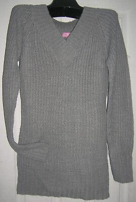 New ladies Shaker knit Medium Tunic sweater gray V neck