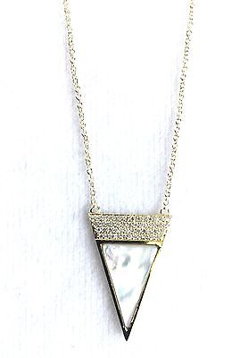 """Jardin Pave Cubic Zirconia 18KT Gold Plated Triangle Necklace, 16"""" + 3"""" Extender"""