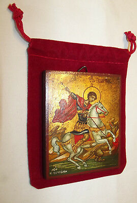 (ICON St George Petraki Monastery Athens Hand Painted Wood Red Velvet Pouch NICE )