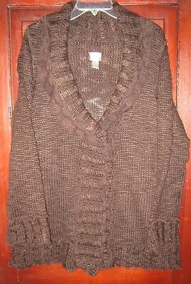 Chico's 3 L Cardigan Sweater Coat Thick Knit Ruffle Lace One Button Brown Long