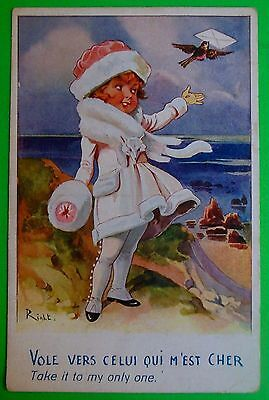 Girl in White-Take It To My Only-Artist Signed Right-Antique Vintage Postcard
