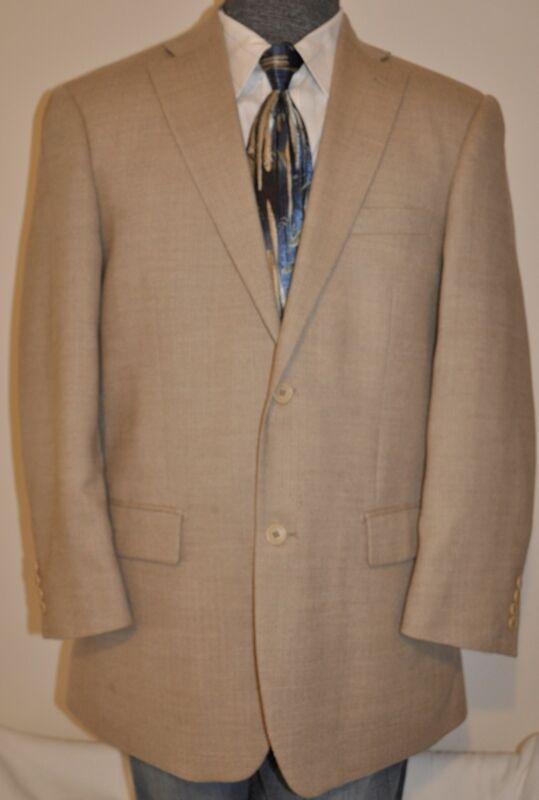Paul Fredrick Wool DUAL VENTS Sport Coat 42R Tan Herringbone Jacket Blazer SOFT!